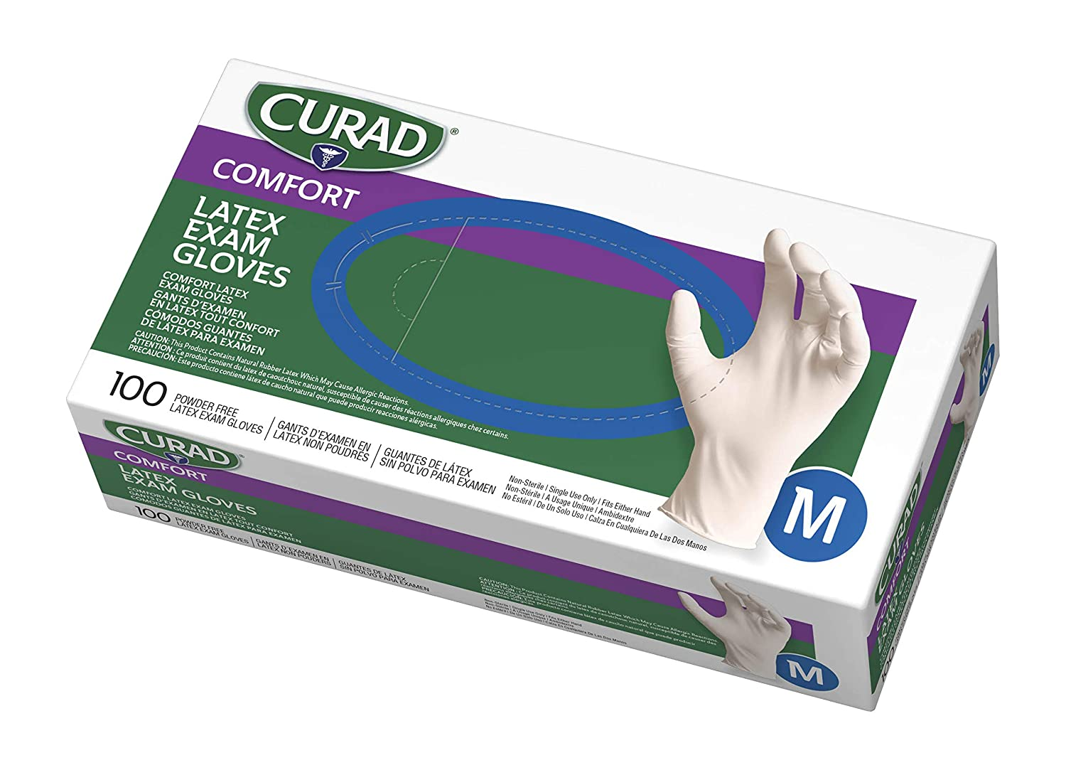 Curad Disposable Medical Latex Gloves, Powder Free Latex Gloves are Textured, Medium, 100 Count